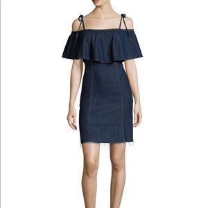 7 For All Mankind off the Shoulder denim dress